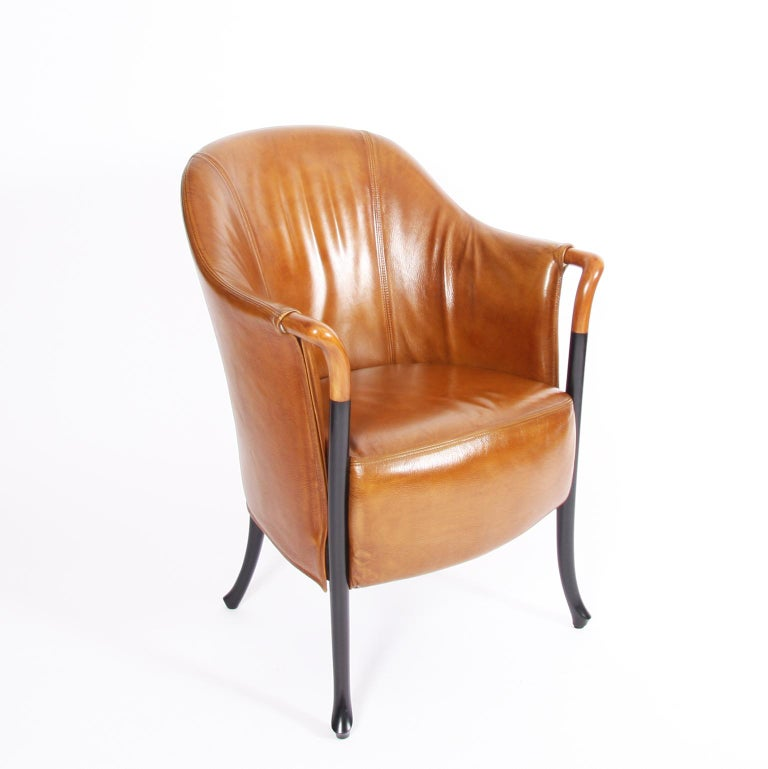 Late 20th Century Pair of Giorgetti Tan Leather Armchairs For Sale
