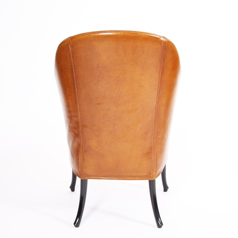 Pair of Giorgetti Tan Leather Armchairs For Sale 1