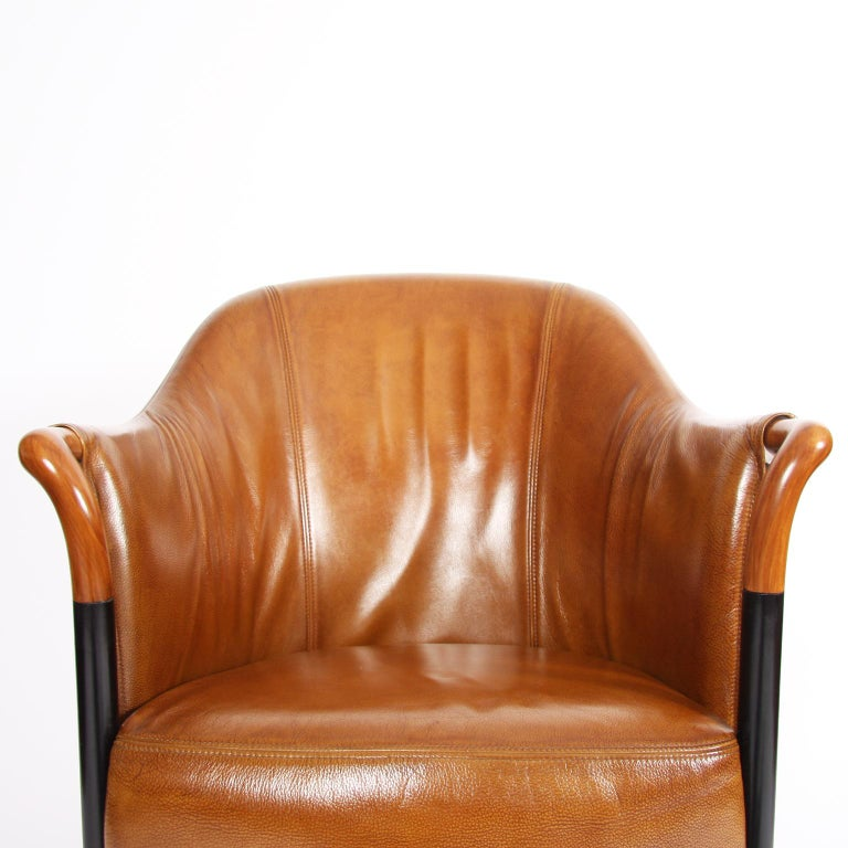 Pair of Giorgetti Tan Leather Armchairs For Sale 2