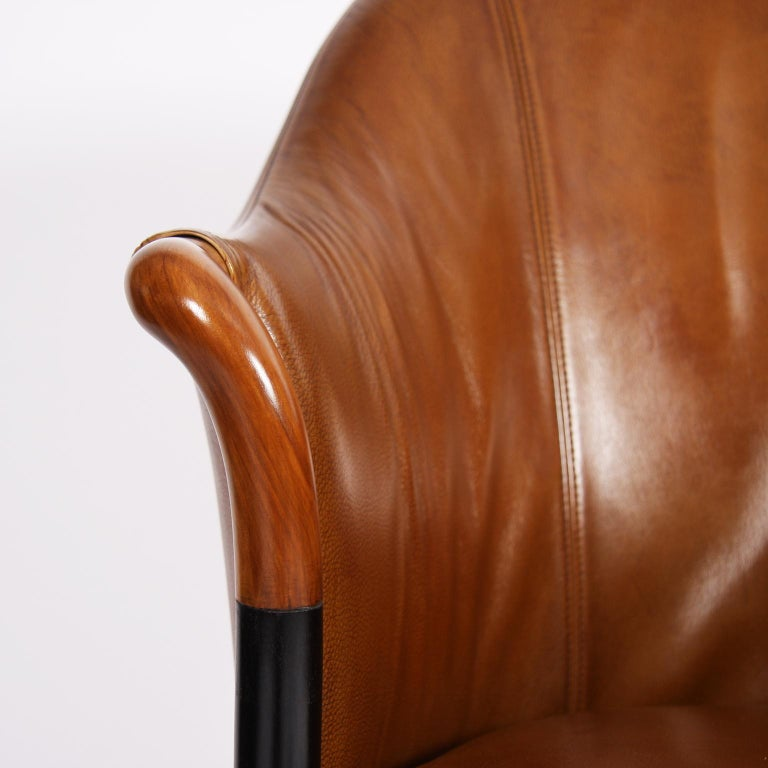 Pair of Giorgetti Tan Leather Armchairs For Sale 3