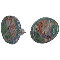Pair of Giovanni De Simone Handles Ceramic Multicolor Design Mid-Century Modern