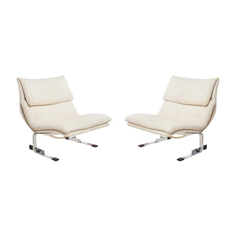 "Pair of Giovanni Offredi for Saporiti ""Onda Wave Lounge Chairs"", Italy For Sale"