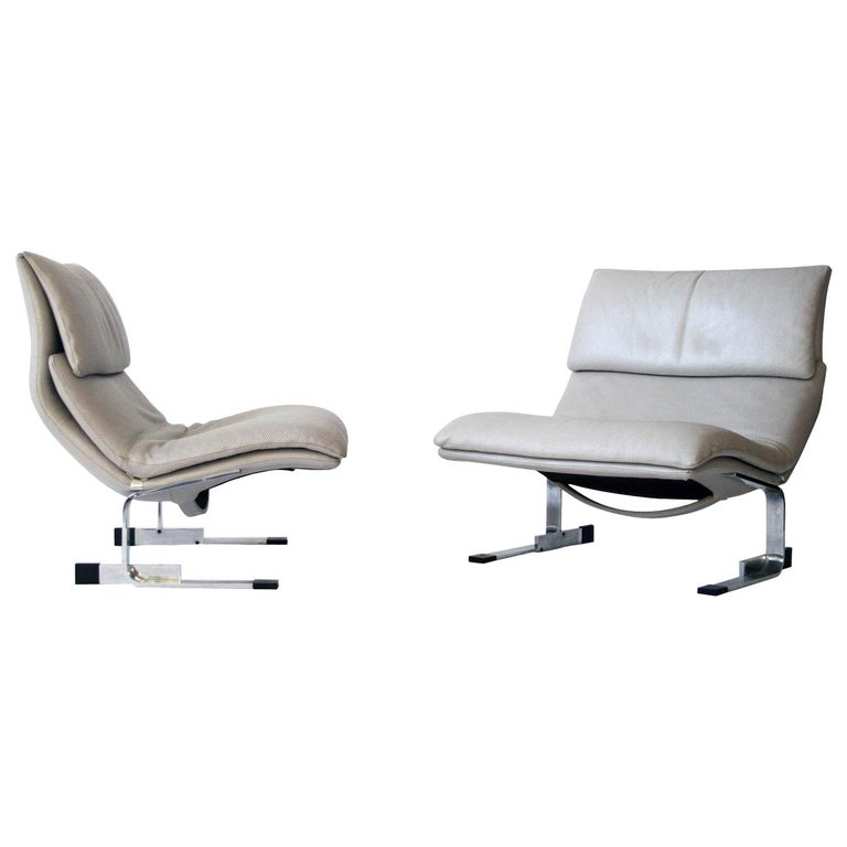 Onda Chair And Ottoman In Missoni Fabric By Giovanni: Pair Of Giovanni Offredi Onda Leather Lounge Chairs For