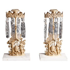 Pair of Girandole Crystal and Gilt Metal Candelabra with Beehive, c1890
