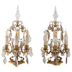 Pair of Girandoles in White and Pink Crystal, Bronze, Louis XV Style, Antiquity
