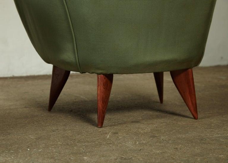 Pair of Giulia Veronesi Perla Armchairs, Green Fabric, ISA Bergamo, Italy, 1950s For Sale 7