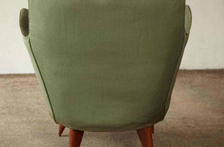 Pair of Giulia Veronesi Perla Armchairs, Green Fabric, ISA Bergamo, Italy, 1950s For Sale 8