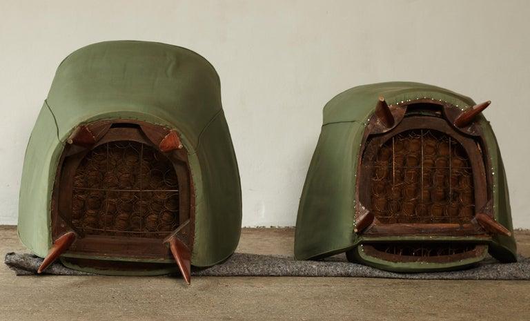 Pair of Giulia Veronesi Perla Armchairs, Green Fabric, ISA Bergamo, Italy, 1950s For Sale 9