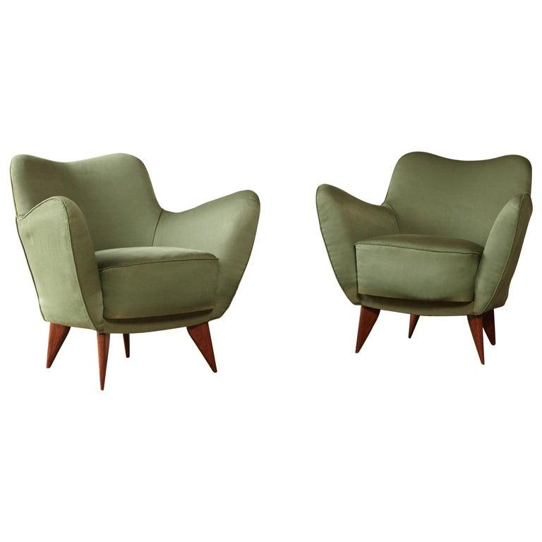 Pair of Giulia Veronesi Perla Armchairs, Green Fabric, ISA Bergamo, Italy, 1950s For Sale