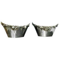 Pair of Giuseppe De Luca 20th Century Silver Rococo Engraved Wine Coolers, 1930s