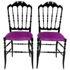 Pair of Giuseppe Gaetano Descalzi Midcentury Italian Chiavari Chairs, 1950s