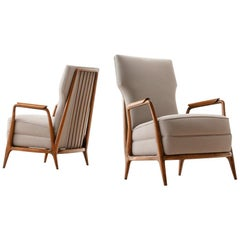 Pair of Giuseppe Scapinelli High Back Chairs in Caviuna Wood, Brazil, 1950s