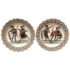 Pair of Giustiniani Egyptomania Pottery Plates with Gilt Borders