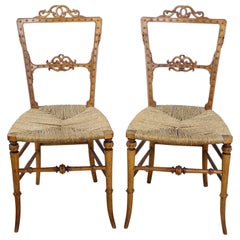 Pair of Glamorous Antique German Bedroom Chairs