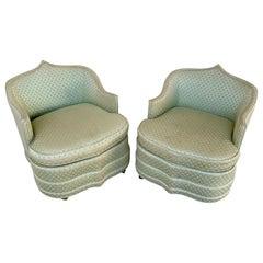 Pair of Glamorous Billy Baldwin 'Attrib' Pagoda Club Chairs