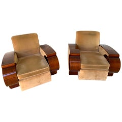Pair of Glamorous French Art Deco Club Chairs