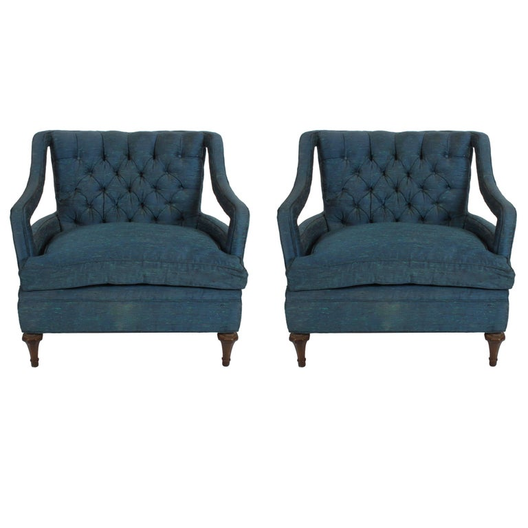 Pair of Glamorous Hollywood Regency Lounge Chairs For Sale