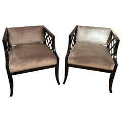 Pair of Glamorous Hollywood Regency Mid-Century Modern Armchairs