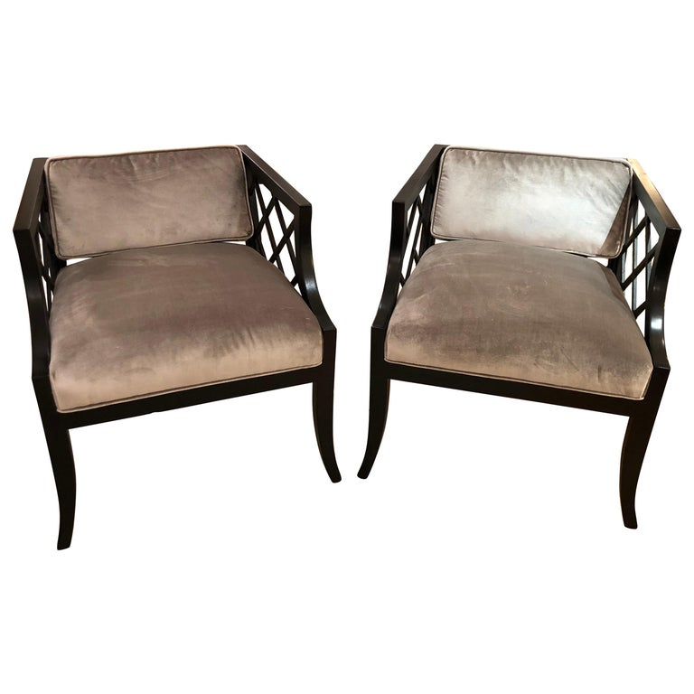 Pair Of Glamorous Hollywood Regency Mid Century Modern Armchairs For