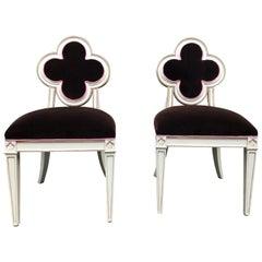 Pair of Glamorous Quatrefoil Shaped Velvet Side Chairs