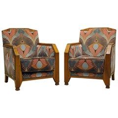 Pair of Glamorous Upholstered French Art Deco Club Chairs with Peacock Fabric