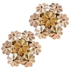 Pair of Glass and Brass Floral Wall Lights from Ernst Palme, 1970s