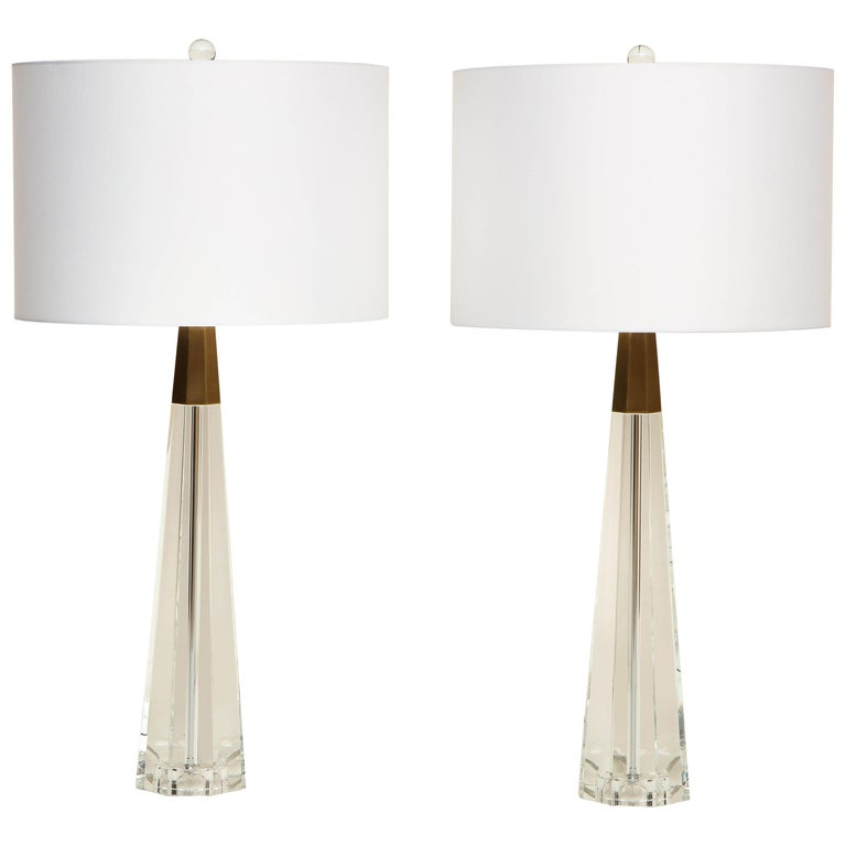 Pair of Glass and Brass Lamps For Sale
