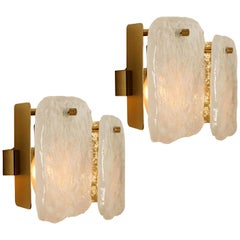 Pair of Glass and Brass Light Fixtures Designed by J.T Kalmar, Austria, 1960s