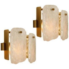 Pair of Glass and Brass Light Fixtures Designed by J.T Kalmar, Austria, 1960s
