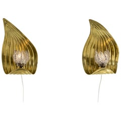 Pair of Glass and Brass Swedish Modern Wall Lights, 1940s