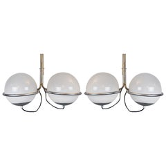 Pair of Glass and Chrome Italian Sconces