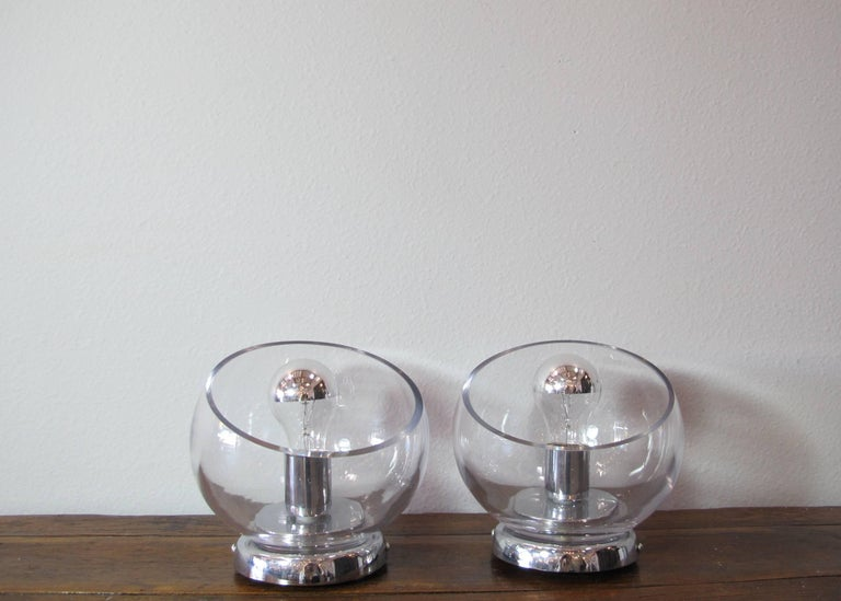 Modern Pair of Glass and Chrome Sconces For Sale