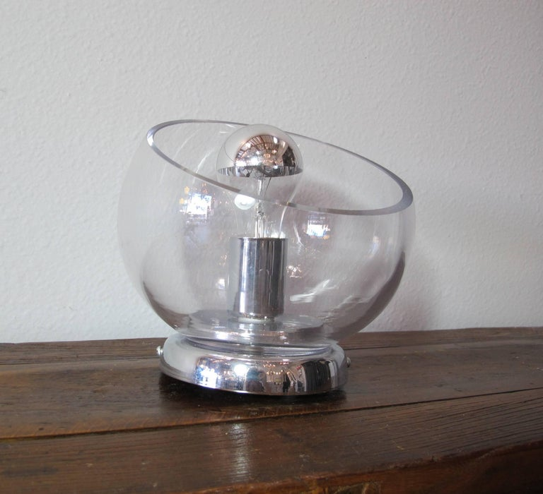 Pair of Glass and Chrome Sconces In Excellent Condition For Sale In Encinitas, CA