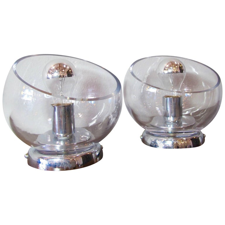Pair of Glass and Chrome Sconces For Sale