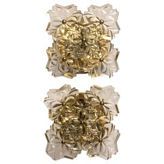 Pair of Glass and Gilt Brass Wall Sconces by Kinkeldey, circa 1960s