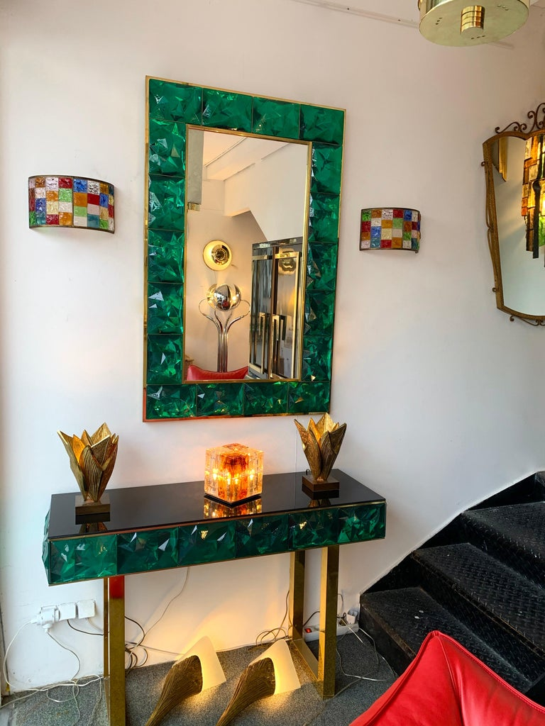 Pair of Glass and Gilt Iron Checkerboard Sconces by Longobard, Italy, 1970s For Sale 4