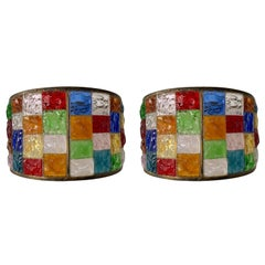 Pair of Glass and Gilt Iron Checkerboard Sconces by Longobard, Italy, 1970s