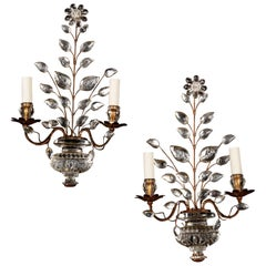 Pair of Glass and Gilt Metal Wall Lights Attributed to Maison Baguès