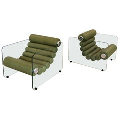 """Pair of Glass and Leather """"Hyaline"""" Lounge Chair by Fabio Lenci for Comfort Line"""