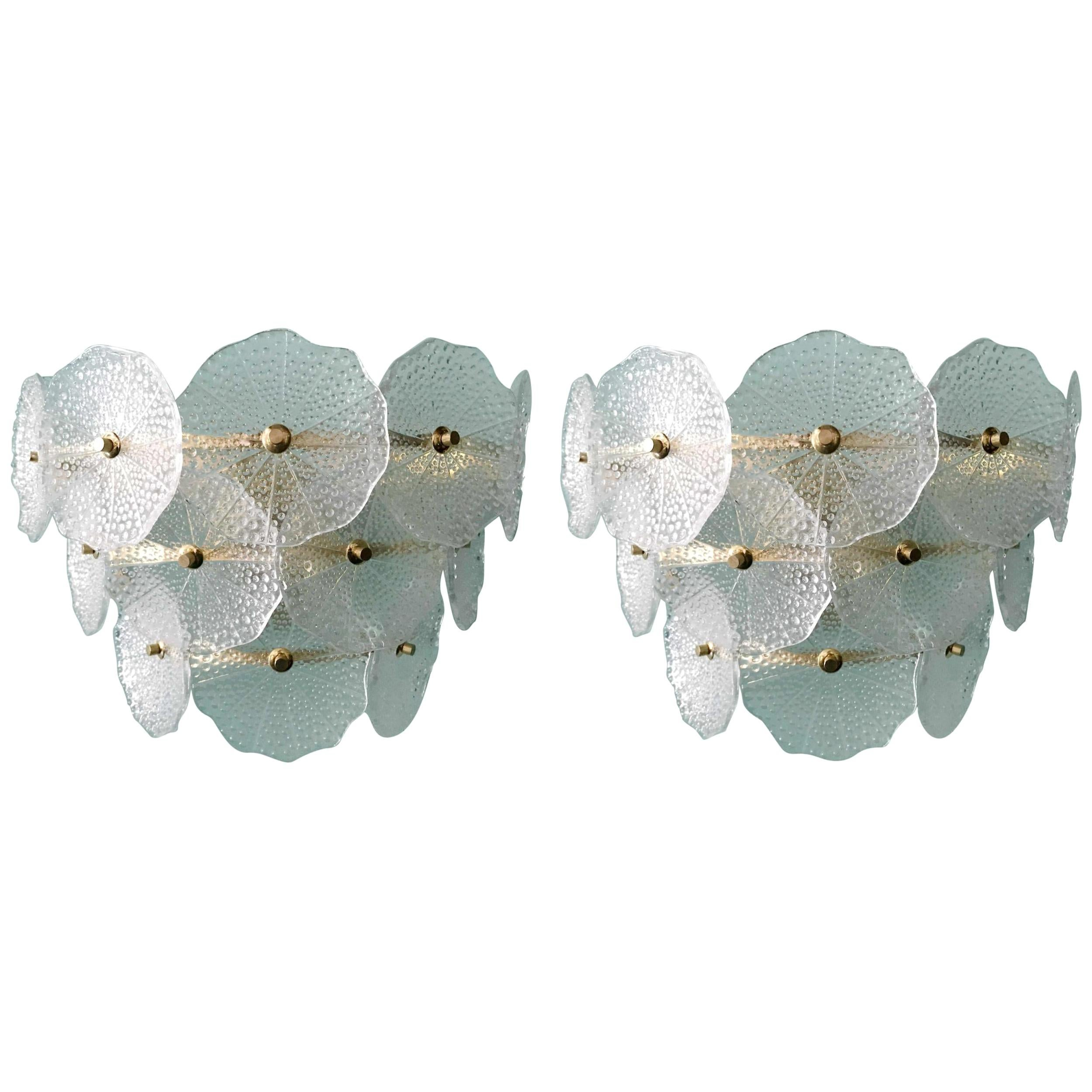 Pair of Glass and Polish Brass Sconces, 1980s