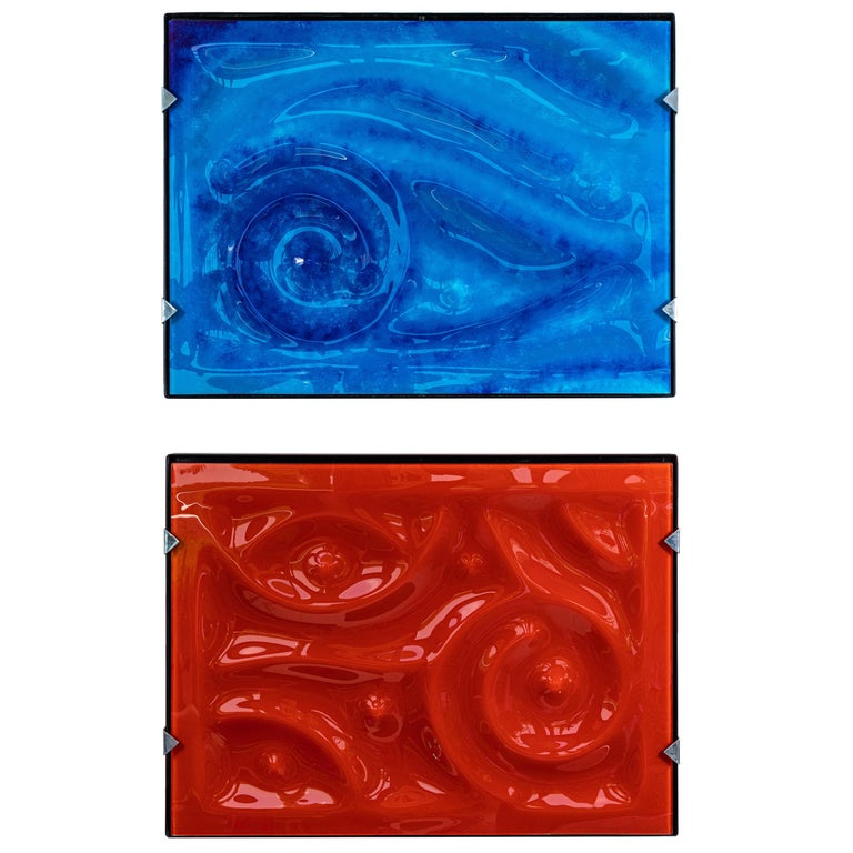 Pair of Glass and Resin Abstract Artworks by Zika For Sale