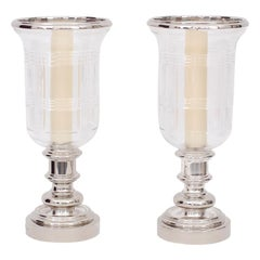 Pair of Glass and Silvered Metal Hurricanes by Ralph Lauren