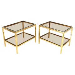Pair of Glass and Steel Side Tables in the Manner of Willy Rizzo, c1960