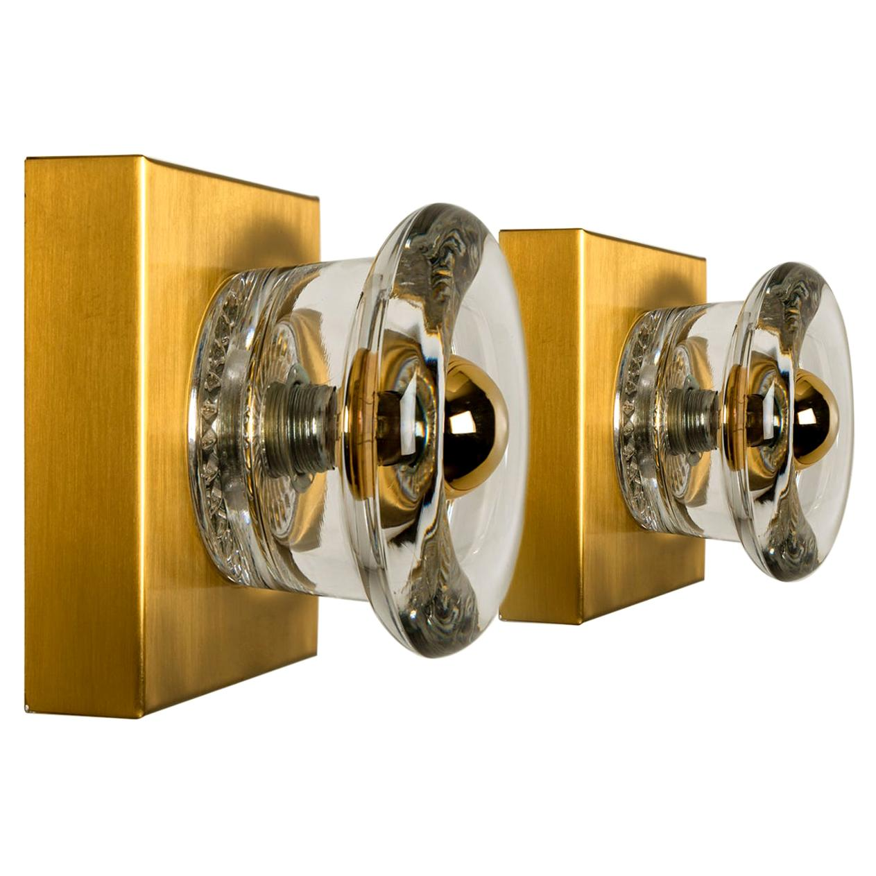 Pair of Glass Brass Wall Sconces Flush Mounts Cosack Lights, Germany, 1970s