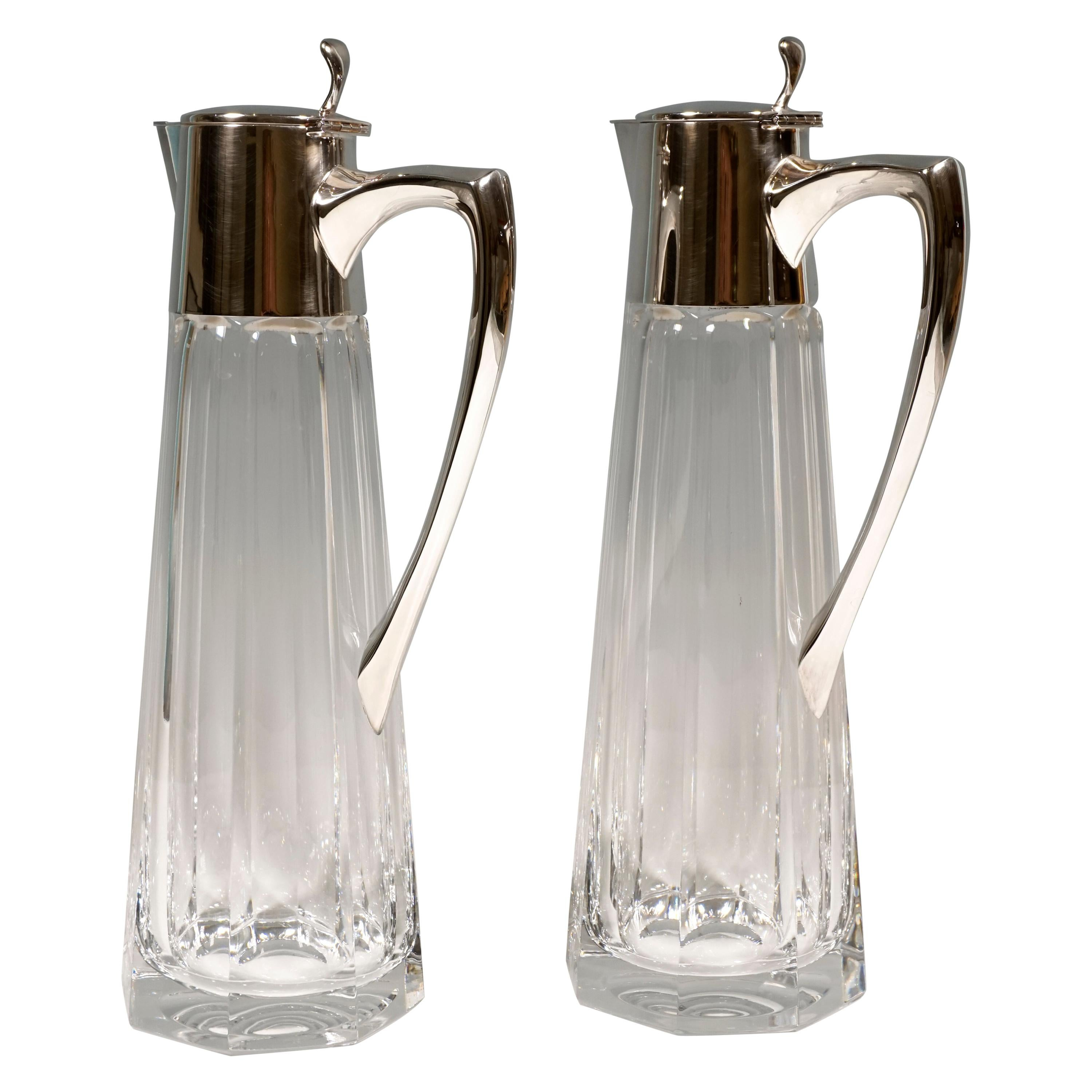 Pair of Glass Carafes with Silver Mounts, Gebrüder Kühn, Germany, Early 20th