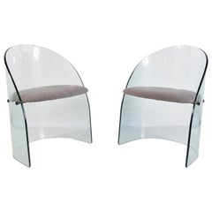 Pair of Glass Chairs in the Manner of Louis Dierra