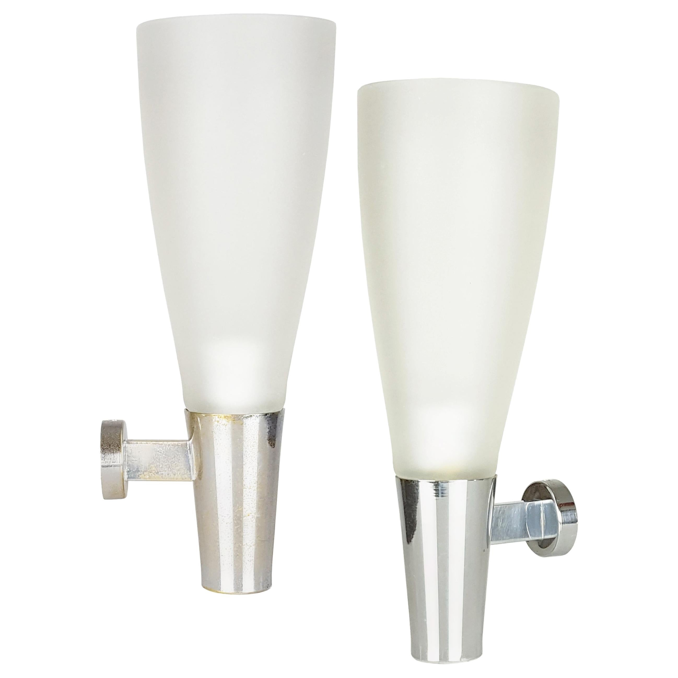 Pair of Glass & Chromed Brass Midcentury Sconces by P. Chiesa for Fontana Arte