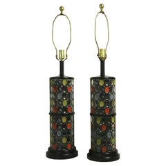 Pair of Glass Column Lamps with Oval Mosaic Motif