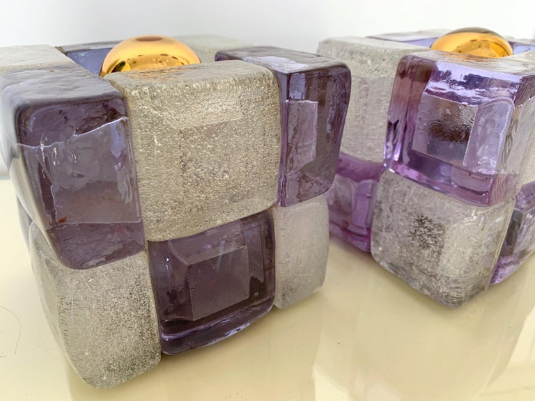 Pair of Glass Cube Lamps by Poliarte, Italy, 1970s In Good Condition For Sale In SAINT-OUEN, FR