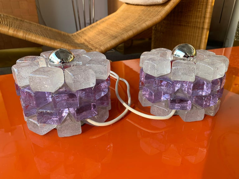 Pair of Glass Cube Lamps by Poliarte, Italy, 1970s For Sale 1